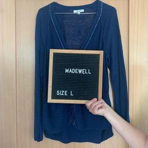 Madewell Sandstitch 100% Linen Navy Blue Cardigan